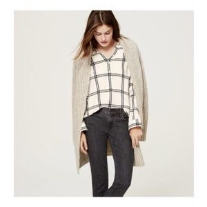LOFT Softened Henley Striped Plaid Shirt Blouse