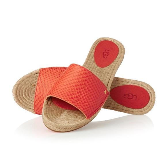 Ugg Australia Cherry Exotic Slip On Leather Slider Sandals