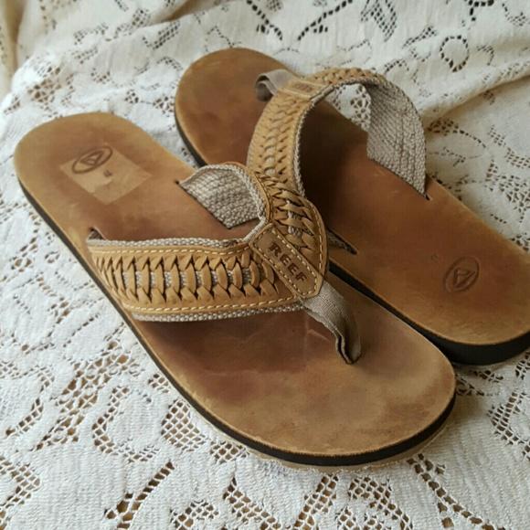 51adf7445529 M 11 REEF tokolosh leather woven flip flop sandal.  M 5907c1a156b2d6dc3701b86c