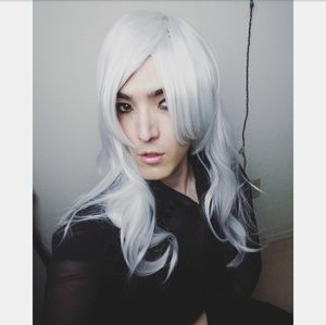 New Long White Silver Wig Great Quality Beautiful