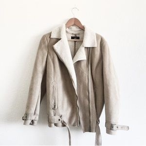 H&M Suede Jacket with Sherpa Collar