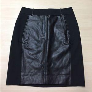 Ann Taylor Dresses & Skirts - Ann Taylor Black Faux Leather Panel Pencil Skirt 2