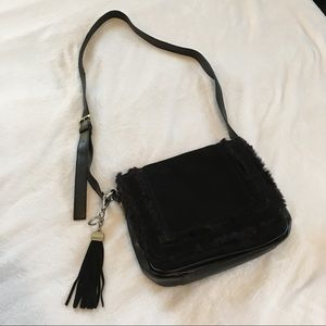 Tignanello Black Suede and Faux Fur Crossbody