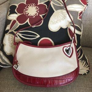 Brighton Handbags - Brighton red and cream leather purse with silver