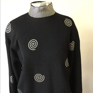 St. John's sweater with silver embellishments sz L