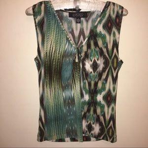 Kasper Tops - Aztec batik Green Abstract print tank New Small