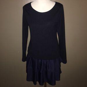 Navy Reborn Sweater Layered Dress