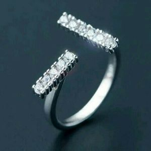 Jewelry - Brand New Sterling Silver T Bar Pave Ring