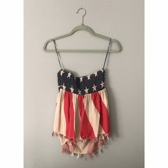 55 Off Tops Nwot Quot Vintage American Flag Quot Tube Halter