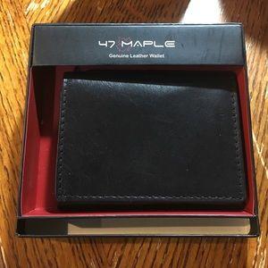 47 Maple Other - Genuine Leather Black Tri-Fold Men's Wallet