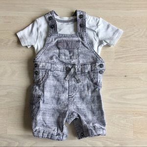 🇬🇧 boys grey overalls & t-shirt set 6-9 months