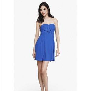 Express:  Blue Strapless Crepe Fit And Flare Dress