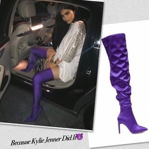 Cape Robbin Shoes - Purple Satin Ruched Thighs High Boots