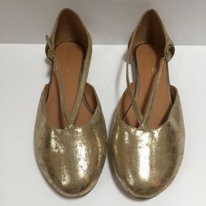 Soft Surroundings Shoes - SOFT SURROUNDINGS Gold Strappy Ballet Flat Shoes