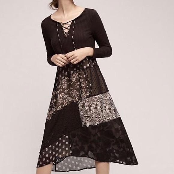 a1ac29ceee7c Anthropologie Dresses   Maeve Laceup Patchwork Midi Dress   Poshmark
