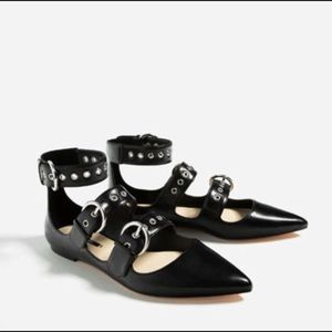 Zara black buckle ankle straps