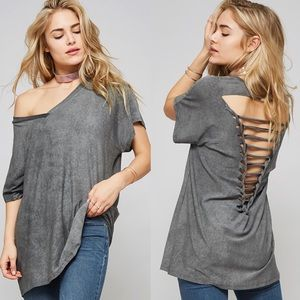 TILLIE loose fit distressed top - CHARCOAL