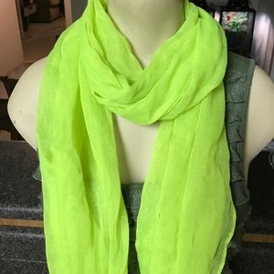 Lime green sheer summer infinity scarf neon hot
