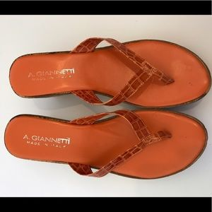 A. Giannetti Shoes - NWOT A. Giannetti orange leather sandals