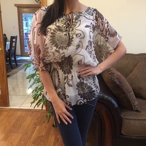 Tops - Flare Stretch Waist Butterfly Blouse Top