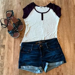 Hippie Rose Tops - Purple And Beige T-Shirt