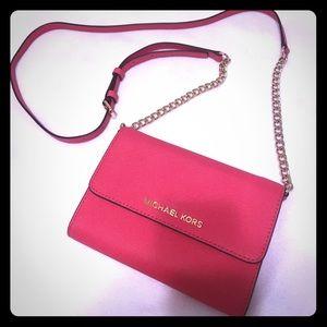 Michael Kors Handbags - Michael Kors RARE Sexy Red Crossbody Chain Wallet