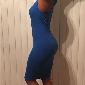 Ribbed Royal Blue Midi Dress