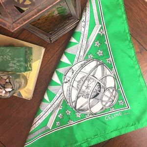 Celine Accessories - Celine Green Horoscope Silk Scarf