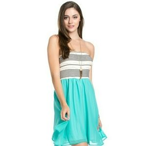 Blossom Dresses & Skirts - Aqua chiffon tube mini dress