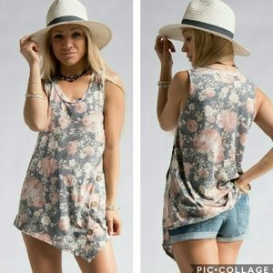 Tops - Faded Floral Button Tank