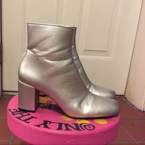 Zara Silver Heeled Ankle Boots