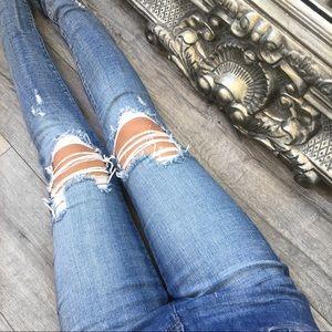 LAST// HAVANA Dark Destroyed Knee Denim Jeans