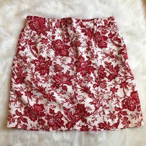 Ann Taylor Dresses & Skirts - Ann Taylor Red Floral Linen Skirt sz 14