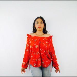Rebecca Taylor Tops - Rebecca Taylor Silk Off Shoulder Red Floral Top