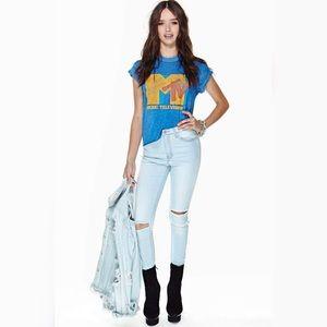 Denim - Light Wash High Waist Knee Hole Jeans