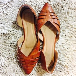 B-Long Boutique Shoes - 🇫🇷 Cognac Pointy Toed Weave Flats from France