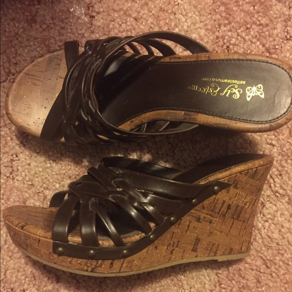 Self Esteem Shoes Brown Wedges Great Condition Worn Once