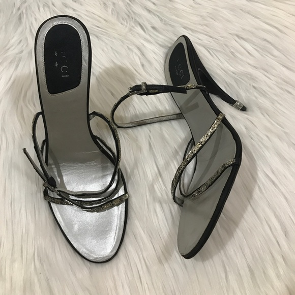 a669b3dbc48 Gucci Shoes - GUCCI SZ 9.5 STRAPPY CUTE HEELS SHOES BLACK SILVER