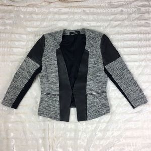 Cut25 by Yigal Azrouel Jackets & Blazers - Cut 25 Black White Tweed Leather Trim Jacket