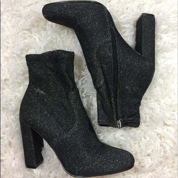 Steve Madden Black Sparkle Sock Boot