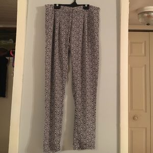 Black/White Polyester Pants