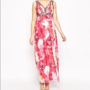 ASOS Maternity Dresses & Skirts - Asos Maternity rose floral maxi dress pink & white