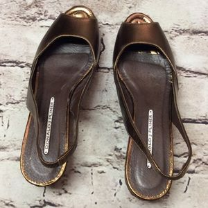 Donald J. Pliner Shoes - DONALD J. PLINER BRONZE WEDGE SANDALS/SHOES