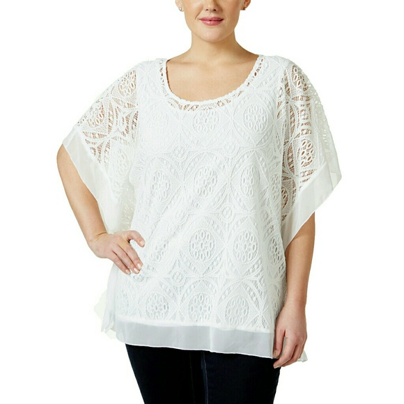 1e822fa6168 👚HP👚JM Collection Plus Size Crocheted Poncho Top