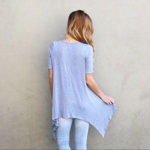 blue angled tunic