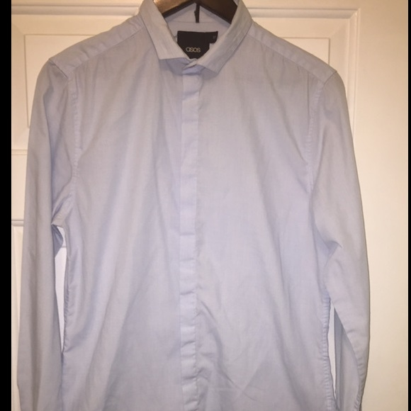 48 off asos other asos baby blue slim fit shirt w for Small collar dress shirt