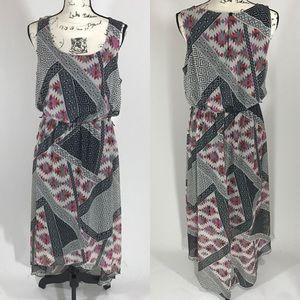 Soho Apparel Dresses & Skirts - Flowy Tribal Aztec Patterned High Low Dress