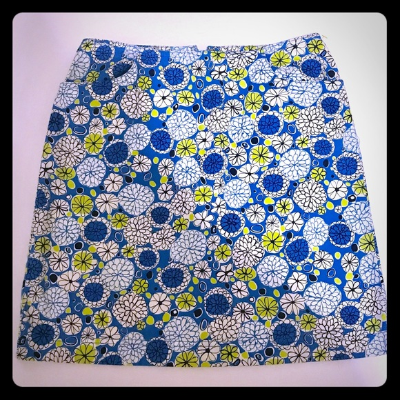 Ann Taylor Dresses & Skirts - Blue, White and Green Geometric Pencil Skirt SK-28