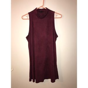 Maroon suede high-neck dress