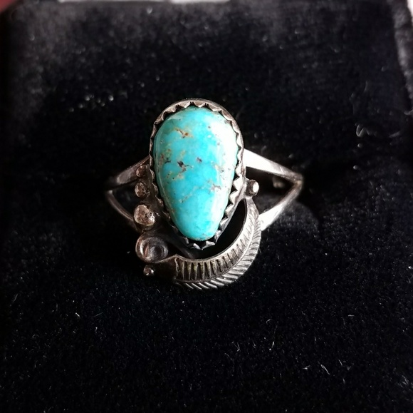 Old Ring Blue Terquise Stone Not Silver